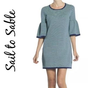 Sail to Sable 3/4 Bell Sleeve Knit Sweater Dress